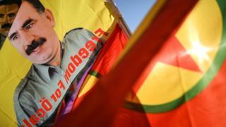 Strasburg'da Öcalan'a destek gösterisi.