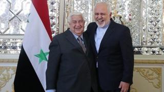 محمدجواد ظریف و ولید معلم وزرای خارجه ایران و سوریه امروز در تهران با هم دیدار کردند