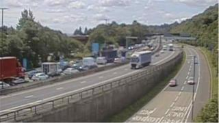 traffic is queuing on the slip road leading to the Coldra in Newport