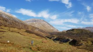 David walking out from Munros - Conival and Ben More Assynt on Easter Monday