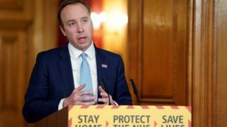 Health Secretary Matt Hancock attending a remote press conference