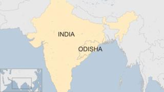 Map of Odisha, showing the state's location in the west of India