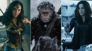 Gal Gadot in Wonder Woman, Andy Serkis in War for the Planet of the Apes and Kate Beckinsale in Underworld: Blood Wars