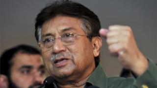 Former president of Pakistan Pervez Musharraf gestures during a news conference in Dubai, in this file picture taken March 23, 2013.