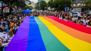 Activists participate in the Walk of Lesbian and Bisexual Women in Sao Paulo