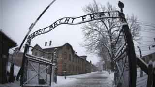 A view of the entry gate at Auschwitz