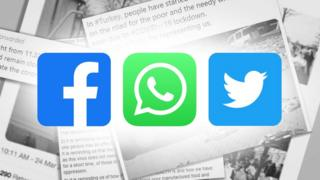 Screenshots of articles with the Facebook, WhatsApp and Twitter icons overlaid on top
