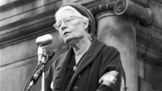 Dorothy Day is pictured in 1969 at Vietnam War demonstration in New York, NY