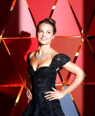 Swedish actress Alicia Vikander wearing Louis Vuitton.