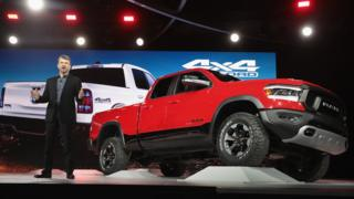 Mike Manley, head of Ram brand at Fiat Chrysler Automobiles (FCA), introduces the 2019 Ram 1500 Rebel pickup truck at the North American International Auto Show (NAIAS) on January 15, 2018 in Detroit, Michigan