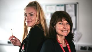 Emma Howard and Assistant Head Teacher, Ann Andrews, of Ysgol Harri Tudor in Pembroke