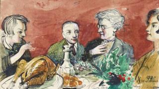 A christmas dinner scene by Sir Robert Ponsonby Staples