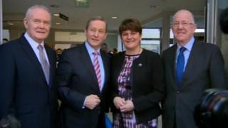 Martin mcGuinness, Enda Kenny, Arlene Foster and Charlie Flanagan