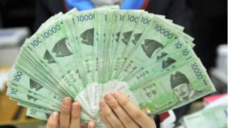 Korean won notes