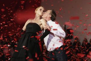 Jasper Conran kisses model Lily Cole at the end of his Autumn/Winter 2007