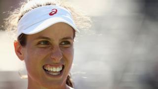 La Britannique Johanna Konta, toute contente d'avoir passé le cap des quarts de finale à Miami