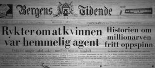 A headline from Bergens Tidende on 7 December 1970, with the headline reading: Rumours say the woman was a secret agent