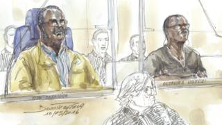 Court sketches of Tito Barahira (l) and Octavien Ngenzi (r)