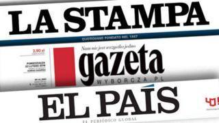 European newspaper banners