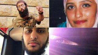 Left to right: Omar Hussain, Aqsa Mahmood, Nasser Muthana and Sally Jones