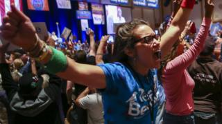 A Bernie Sanders supporter shouts at the Nevada State Democratic Convention on 13 May.