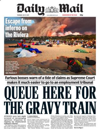 Daily Mail front page - 27/07/17
