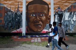 A mural in Baltimore depicting Freddie Gray