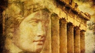 Diosa y Partenón superpuestos