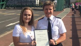 Paige Hunter and Northumbria Police Chief Superintendent Sarah Pitt