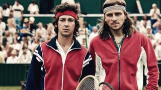 Shia LaBeouf and Sverrir Gudnason in Borg McEnroe