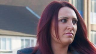 Deputy leader of Britain First, Jayda Fransen, arriving at Luton Magistrates' Court