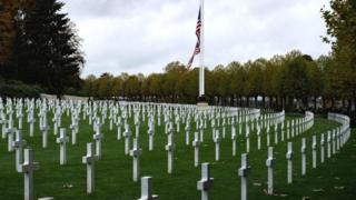 Graves at the Aisne-Marne American Cemetery and Memorial in Belleau, France, 10 November 2018