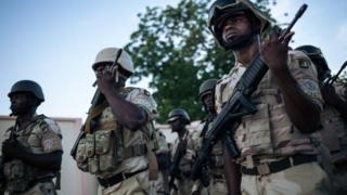 Soldiers at the Force Multinationale Mixte (FMM) base in Mora, in Cameroon's Far North Region, on September 28, 2018.