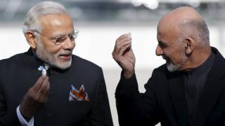 India's Prime Minister Narendra Modi (L) and Afghan president Ashraf Ghani in Kabul Afghanistan December 25, 2015.