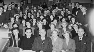 The audience for 'Caniadaeth y Cysegr' which was being recorded at Soar Presbyterian Chapel, Llanfechain on October 7, 1953
