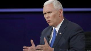 Mike Pence, pictured at the debate