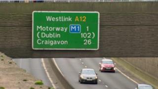 Westlink road sign