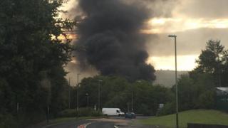 A recylcling plant fire in Crossskeys