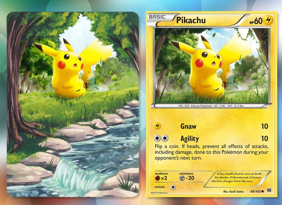 A Pokemon card of Pikachu, beside a painting on the same card. The name of the Pokemon, and other similar information, has been painted over to extend the landscape to feature grass, trees and a flowing river with a waterfall.