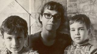 Наталья Горбаневская с сыновьями в 1973 году