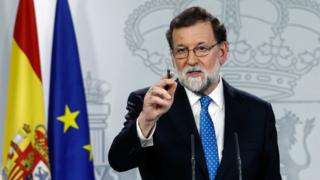 """Spain""""s Prime Minister Mariano Rajoy attends a press conference at the Moncloa Palace in Madrid, December 22, 2017"""
