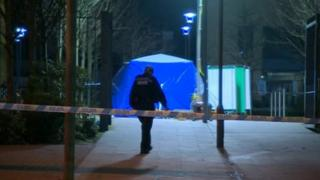 A blue tent at the scene on Wednesday evening