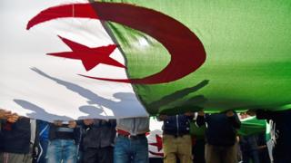 in_pictures Protesters holding the Algerian flag in Algiers, Algeria - Friday 28 February 2020