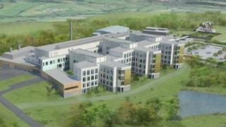 Artist's impression of the Specialist and Critical Care Centre on the site of the former Llanfrechfa Grange Hospital near Cwmbran.