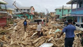 View of damage caused by Hurricane Maria in Roseau