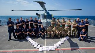 Crew of HMS Dragon with drugs seized