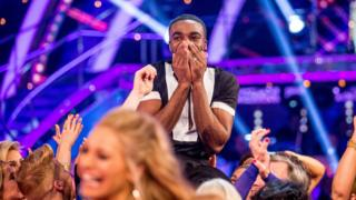 Photo of Ore Oduba after he won the 2016 final of the BBC One show Strictly Come Dancing.
