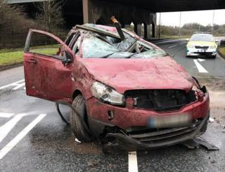 Car after crash on M61