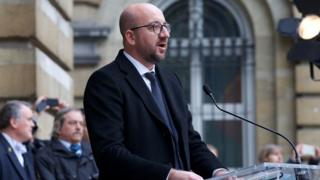 Prime Minister Charles Michel speaks outside Belgian parliament (24 March)