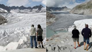 A combination of two pictures shows the difference in the amount of ice on the Rhone glacier at the Furkapass, Switzerland in 2018 and in 2008.